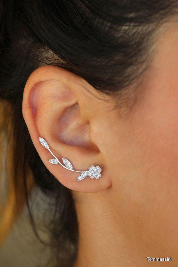 a95701a3e Ear Cuff, ear climber, ear crawlers, Wedding earrings, Bride earrings, leaf Pin  Earrings, ear jacket earring, Ear Pins, leaf ear climber