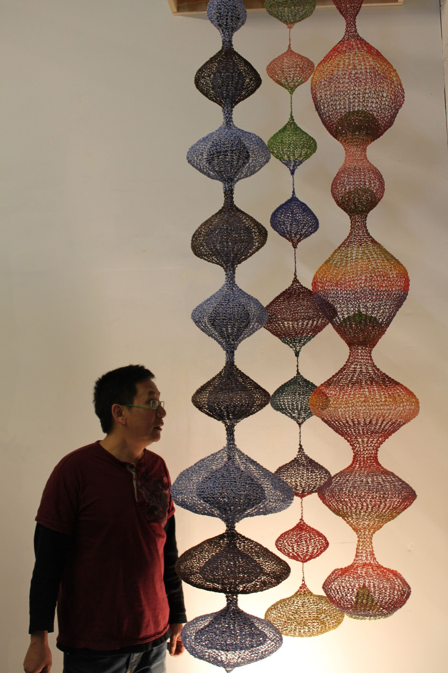 Tuan & Long Hanging Wire Sculptures, Made From Recycled Telephone