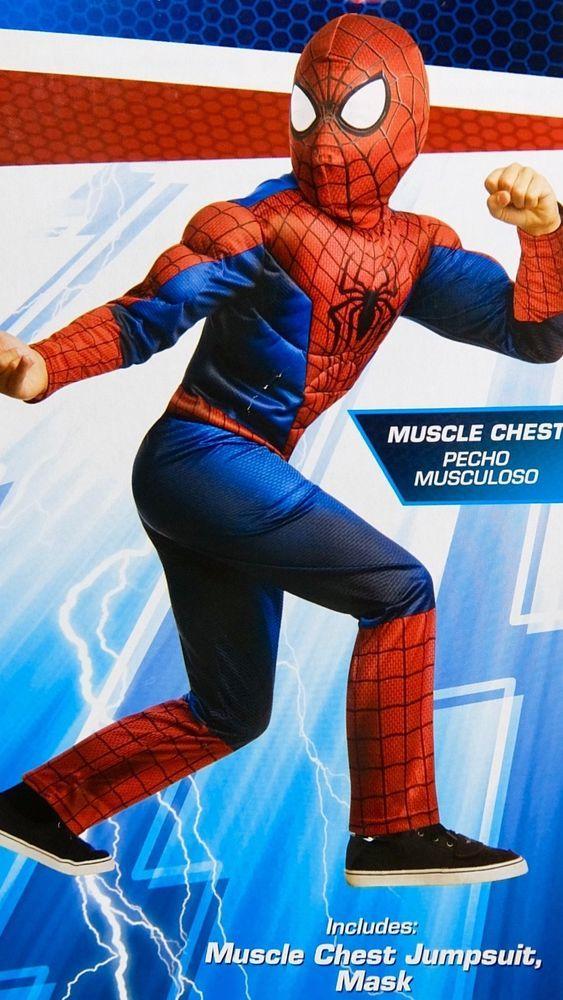 Rubies Spiderman Costume Muscle Jumpsuit Fabric Mask Marvel Child Small 4-6 & Rubies Spiderman Costume Muscle Jumpsuit Fabric Mask Marvel Child ...