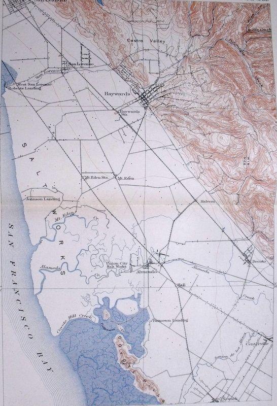 1908 Antique Map San Francisco Bay Haywards Castro Valley Ca