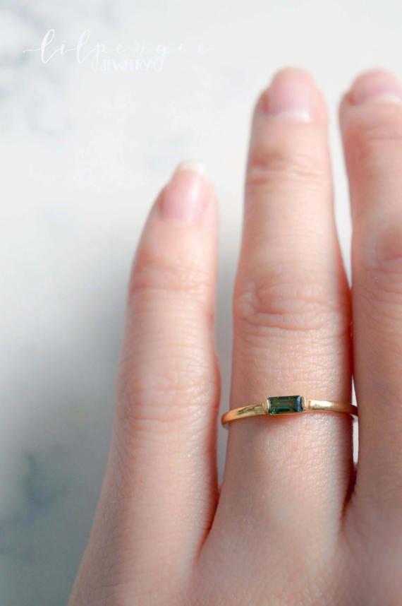 51bff92cf4819 GOLD lana - pink or green tourmaline baguette gemstone ring. gold ...