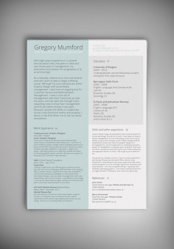 MINT CV/Resume by @Graphicsauthor Resume CV Templates Pinterest