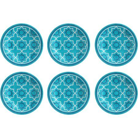 Better Homes And Gardens Teal Trellis Print Melamine Dinner Plate 6pk Blue Amys KitchenKitchen IdeasBetter