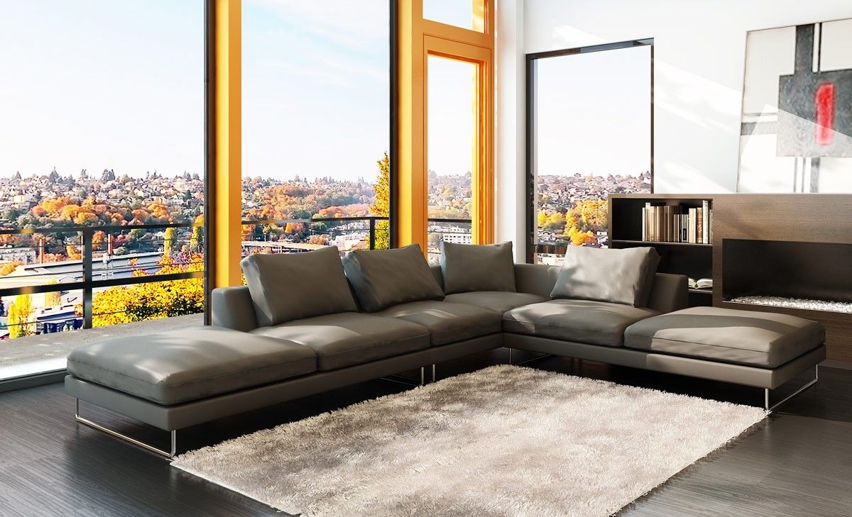 Contemporary Low Profile Leather Sectional Sofa