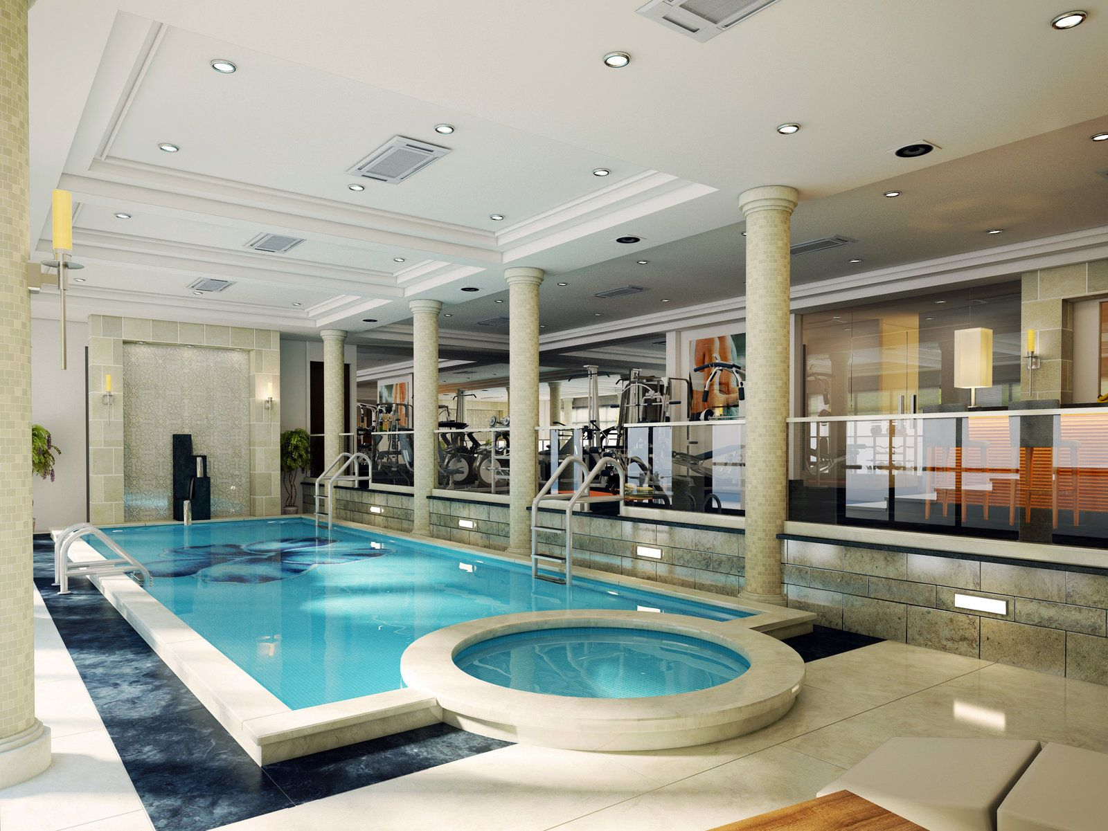 Basement pool workout room hot tub dream house for Swimming pool room ideas