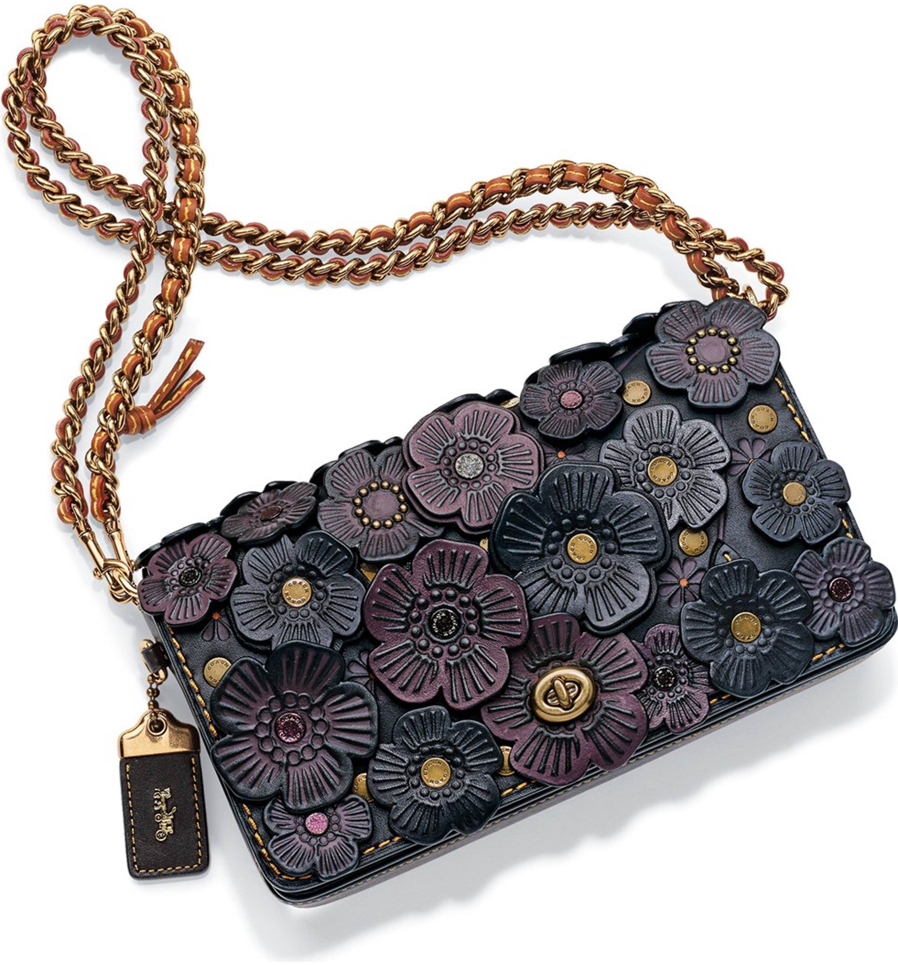Coach 1941 Dinky Flower Applique Leather Crossbody Bag Leather