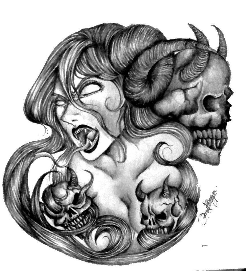 Tattoo Design Demon Woman Tattoo Design By Rainingrainy On Deviantart With Images Scary Tattoos Tattoos For Women Demon Tattoo
