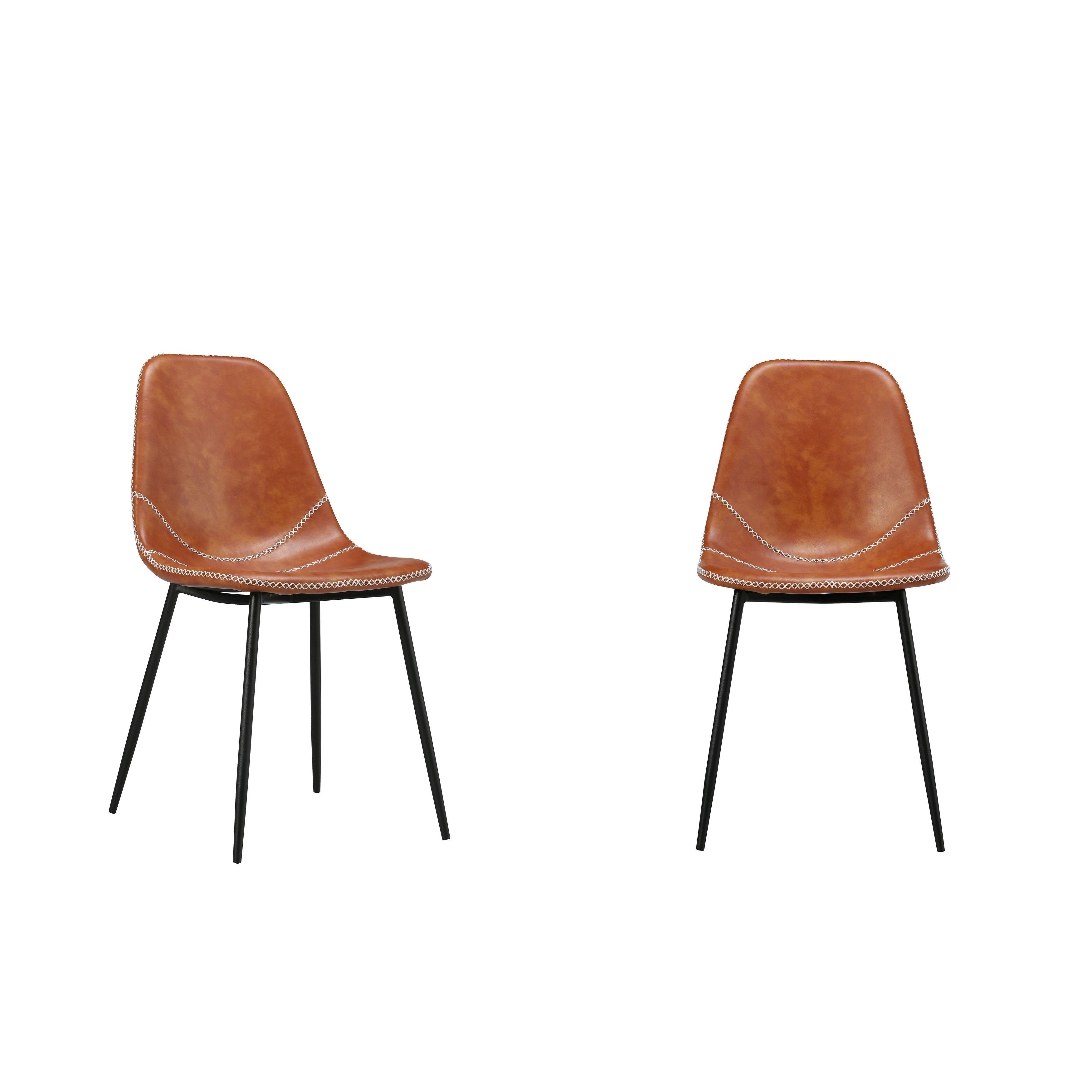 Jose Modern Modern Dining Chair Orange Pu Set Of Two Red