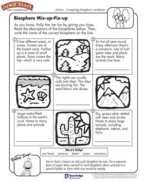 Science+Worksheets+for+3rd+Grade Biosphere MixUp, Fix