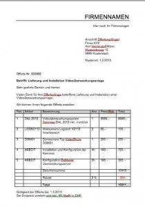 Offerte Vorlage Muster Und Vorlagen