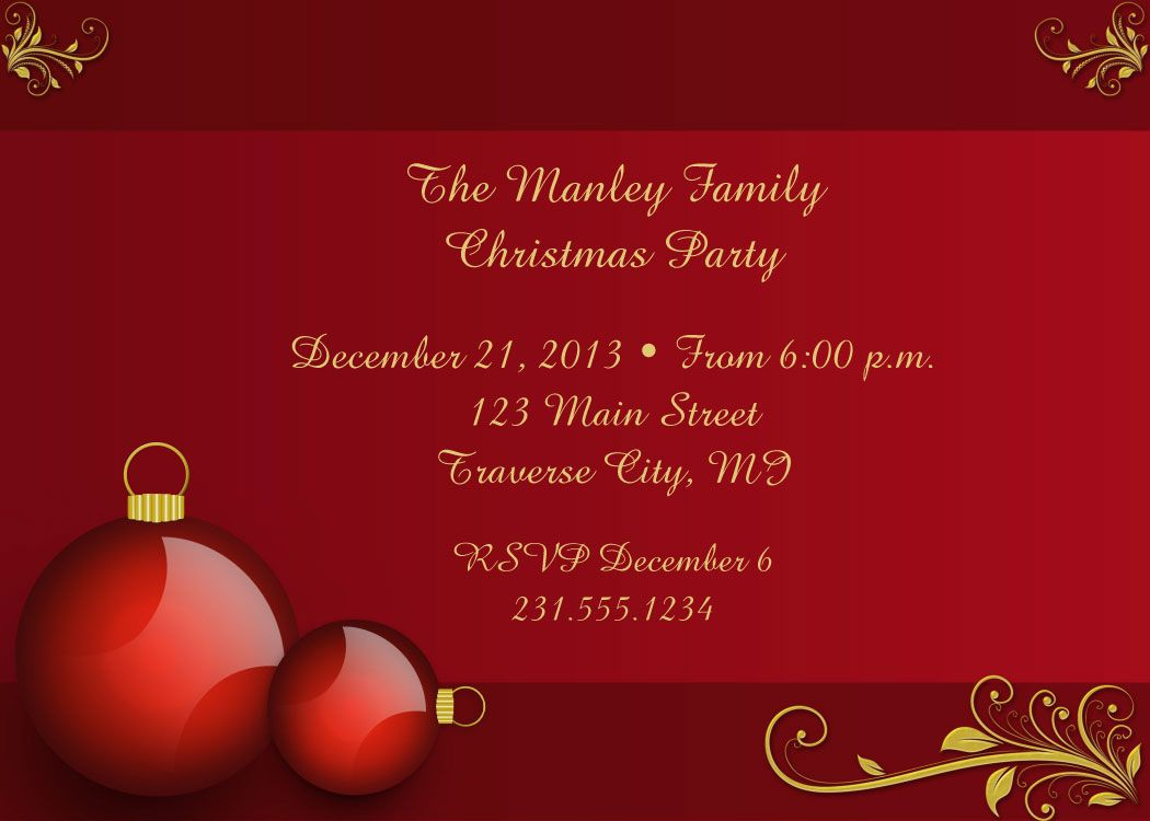 Red Ornaments Christmas Party Invitations | Everything Christmas ...