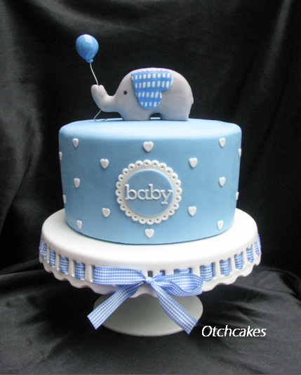 Elephant Baby Shower Cake For A Boy Blue Fondant Cake With White Heart Polka Dots Elephant H Elephant Baby Shower Cake Torta Baby Shower Baby Shower Cupcakes