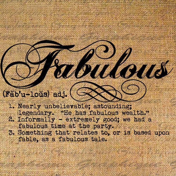 Definition FABULOUS Text Typography Words Digital Image Download Sheet...  ($1) ❤
