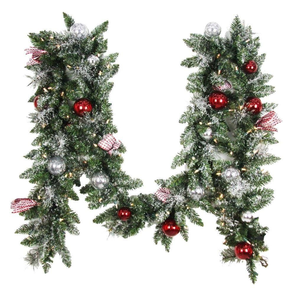 Home Accents Holiday 12 Ft Battery Operated Frosted Mercury Artificial Garland With 100 Clear Led Li Artificial Garland Frosted Garland Shatterproof Ornaments