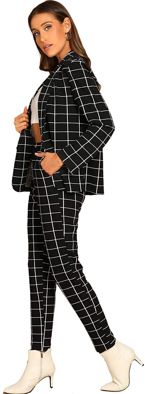 SheIn Womens Two Piece Plaid Open Front Long Sleeve Blazer and Elastic Waist Pant Set Suit