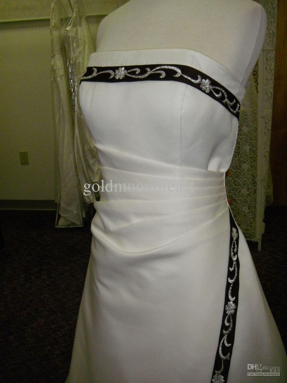 Wedding Dress With Black Satin Trim Black Wedding Dresses Rocker Wedding Wedding Dresses