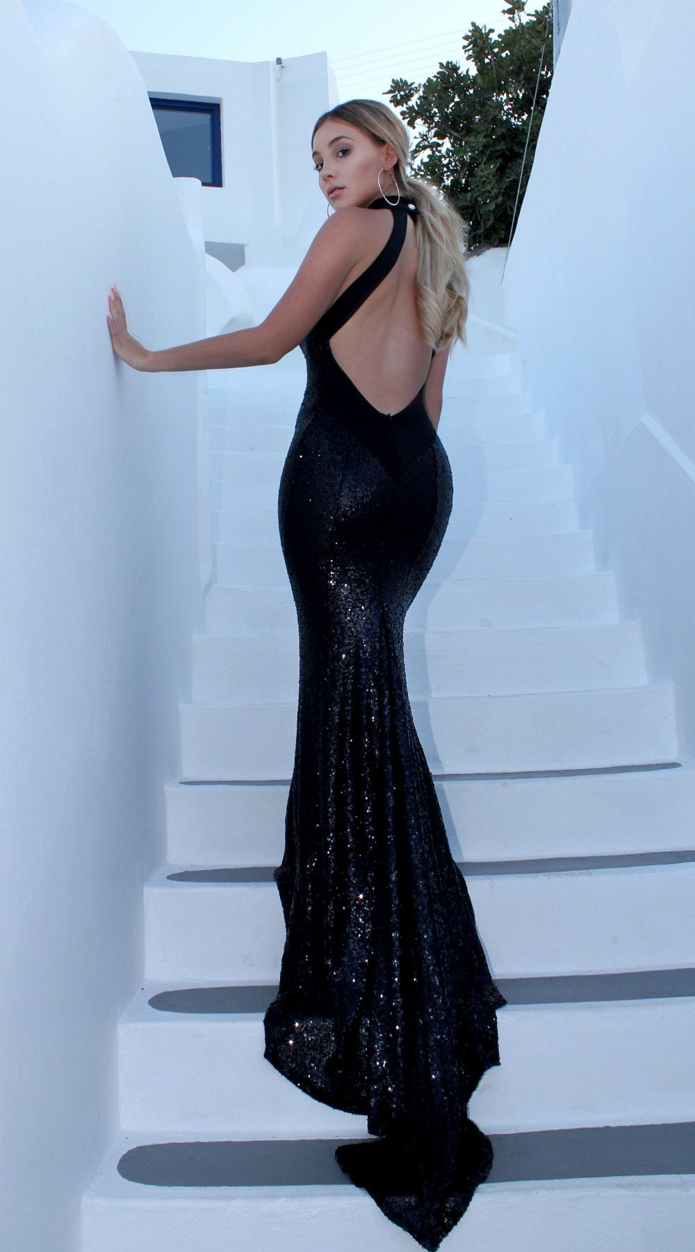 Chloe Black | Sequins, Sticky bra and Backless gown