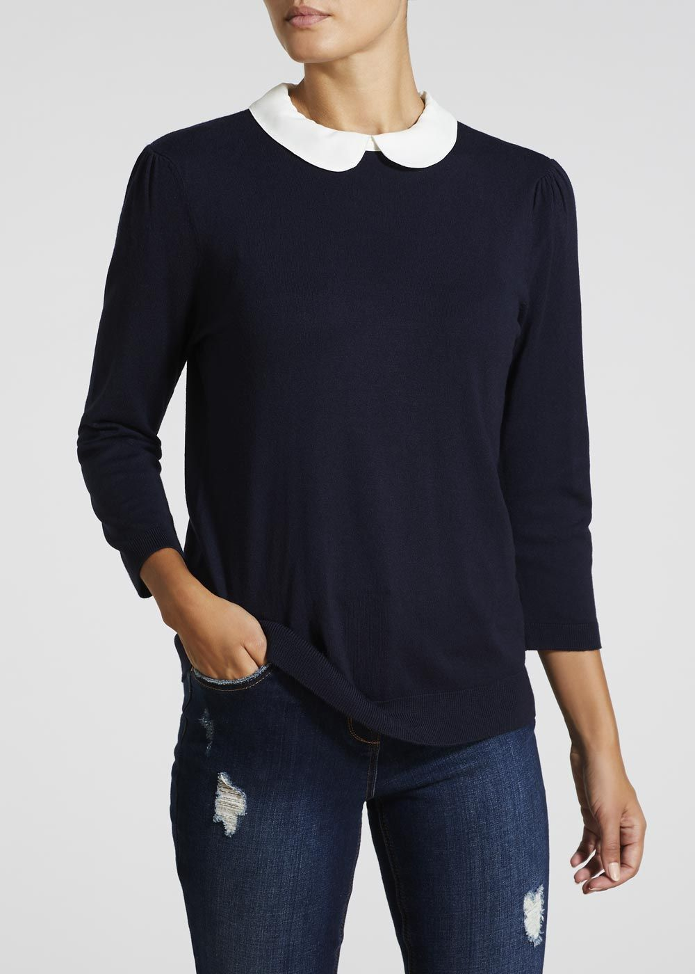 94bb0b8f8 2 in 1 Peter Pan Collar Shirt Jumper in 2018   what to wear ...