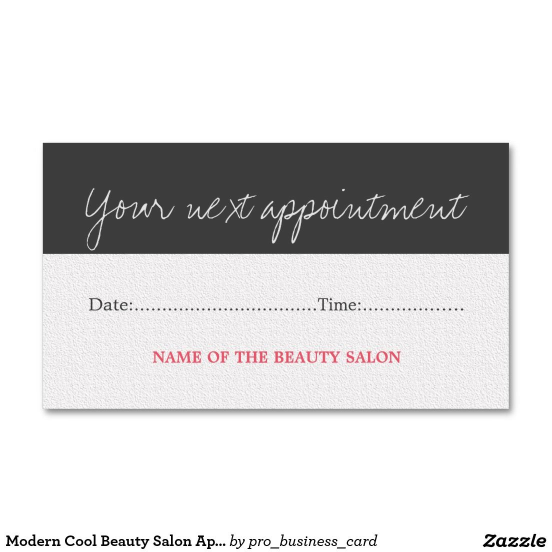 Modern Cool Beauty Salon Appointment Card Business Card | business ...