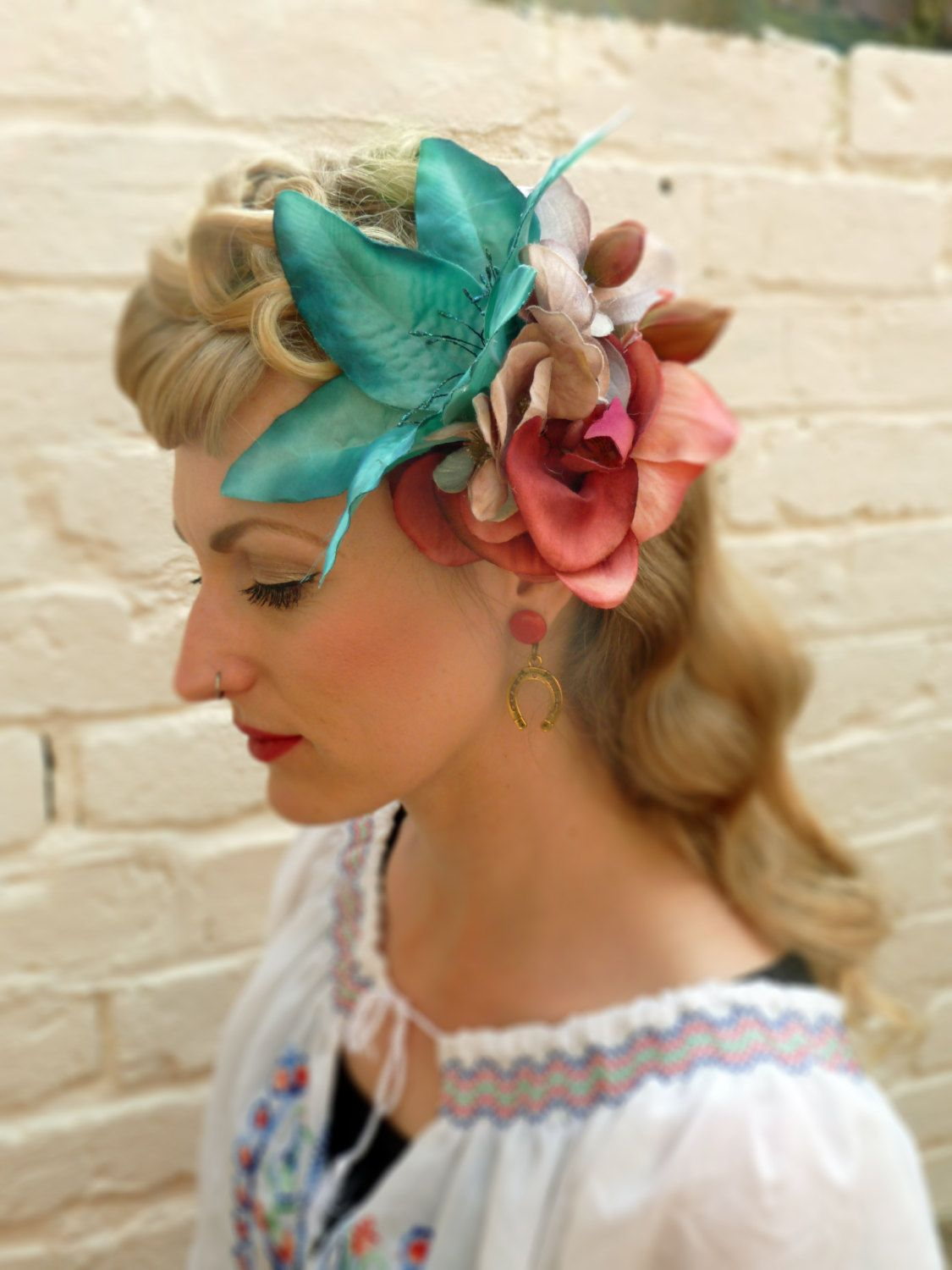 111452c323 The 'Luana' - large teal and dusty pink lily and orchid hair flower  fascinator, 40s 50s pin up vintage style by PinUpCurl on Etsy