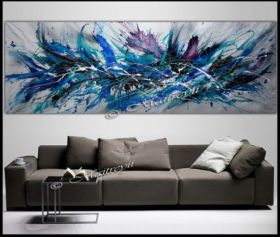 Art Canvas Painting Wall Modern Abstract 72 X 36 Wide Décor One Piece Large Artwork Decor By Largeartwork