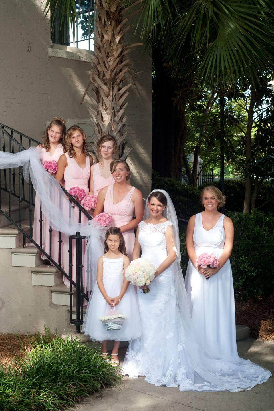 Pink Wedding. Bridesmaids outside reception venue, the Marion ...