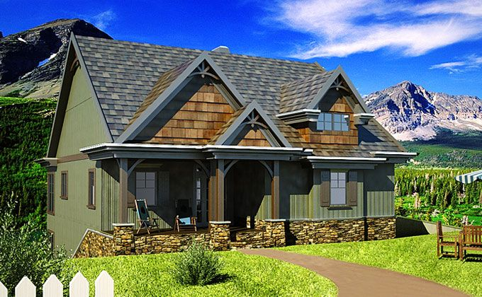 Small Cottage Plan with Walkout Basement Lakes Craftsman and House
