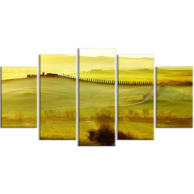 DesignArt 'Green Landscape and Rural Road Italy' 5 Piece Wall Art on Wrapped Canvas Set
