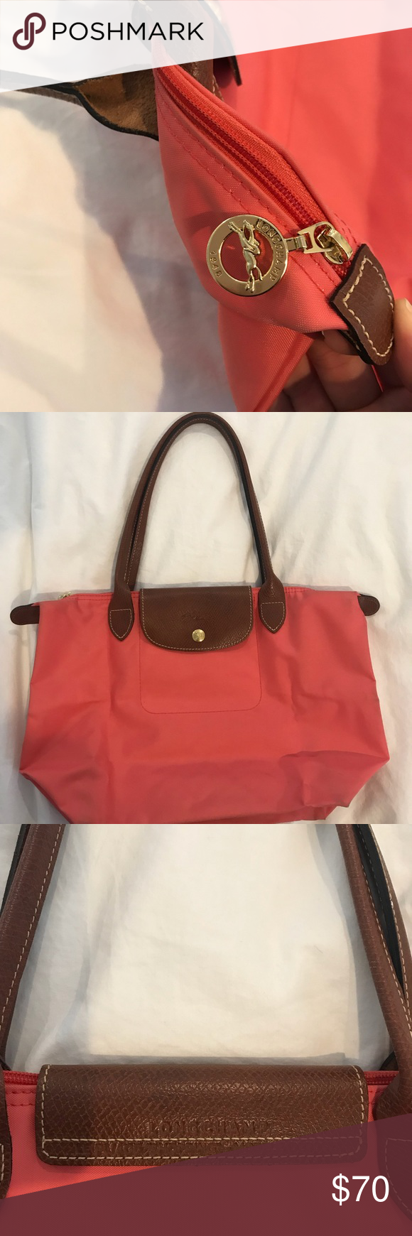 f251fe049c Flower (color) Le Pliage Small Handbag Salmon pink small long champ. Slight  use shown on corners otherwise perfect condition. Nylon with leather  details.
