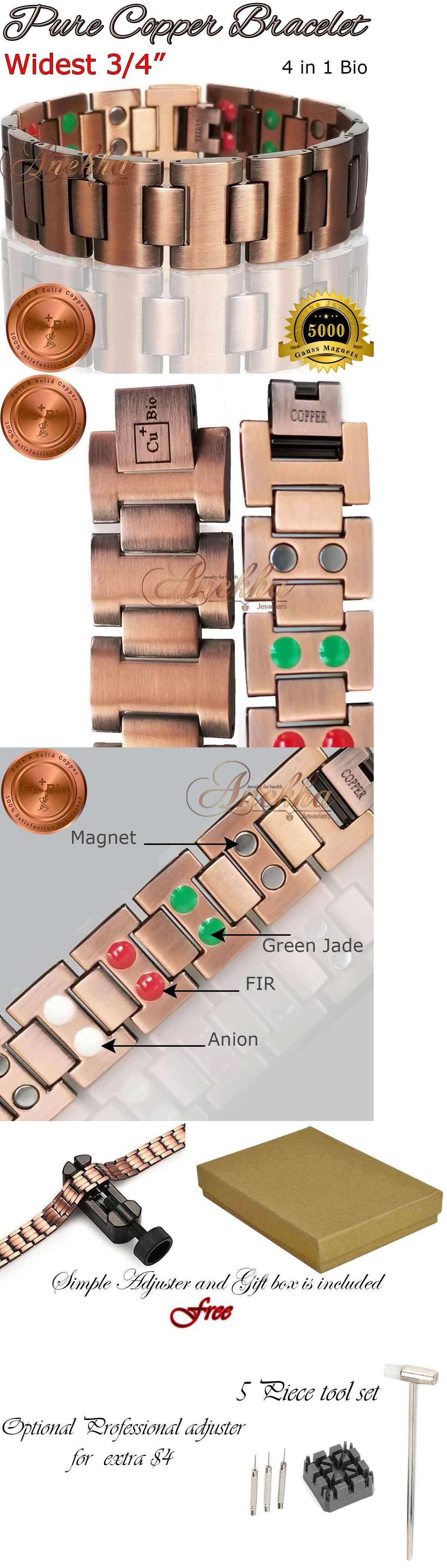 Pure solid copper magnetic bracelet men vtg fin arthritis g