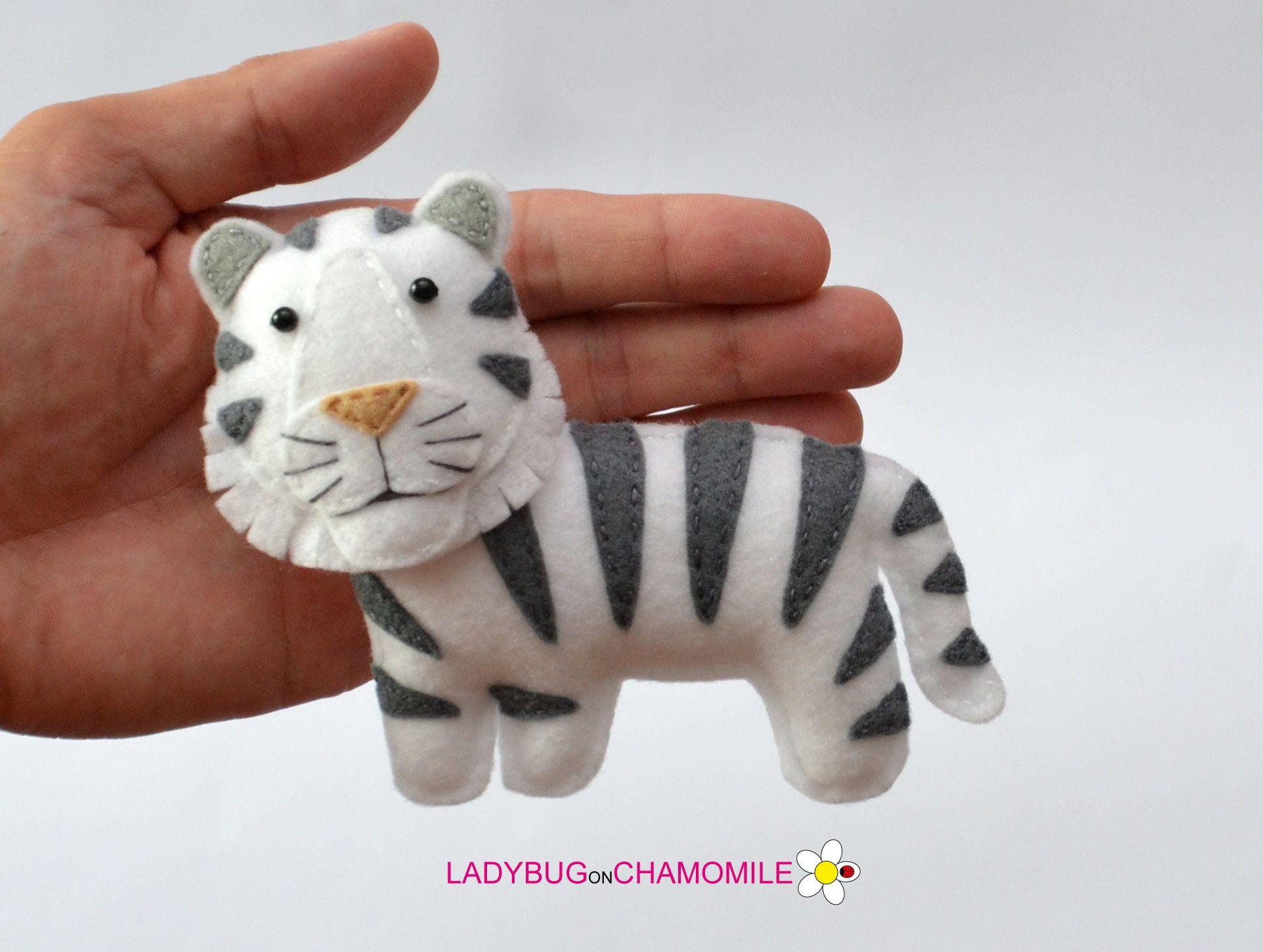 Felt White Tiger Stuffed Felt Tiger Magnet Or Ornament Cute Felt Toys Felt Ornaments Felt Animals