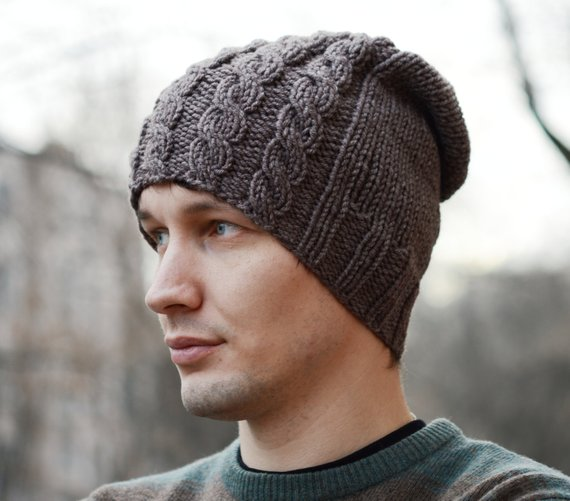 569909b9625ec Slouchy Hand Knit Hat   Mens Knit Hat   Knitted Mens Hat   Knit Beanie    Handmade Knitted Hat   Cabl