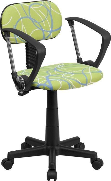 Multi-Colored Swirl Printed Pink Swivel Task Chair