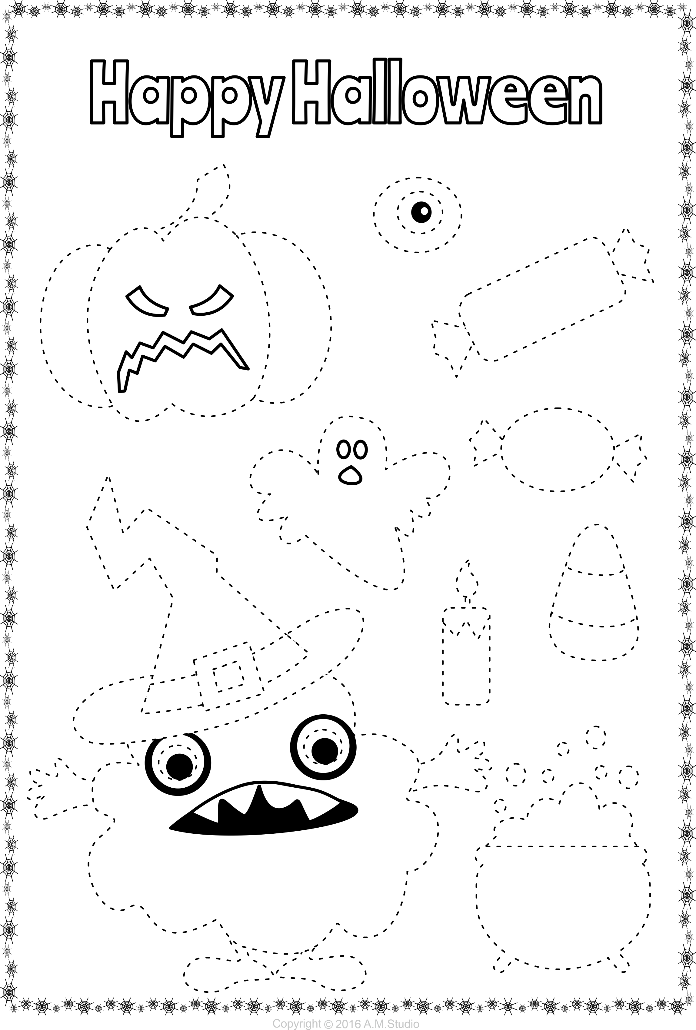 Halloween Trace And Color Pages Fine Motor Skills Pre