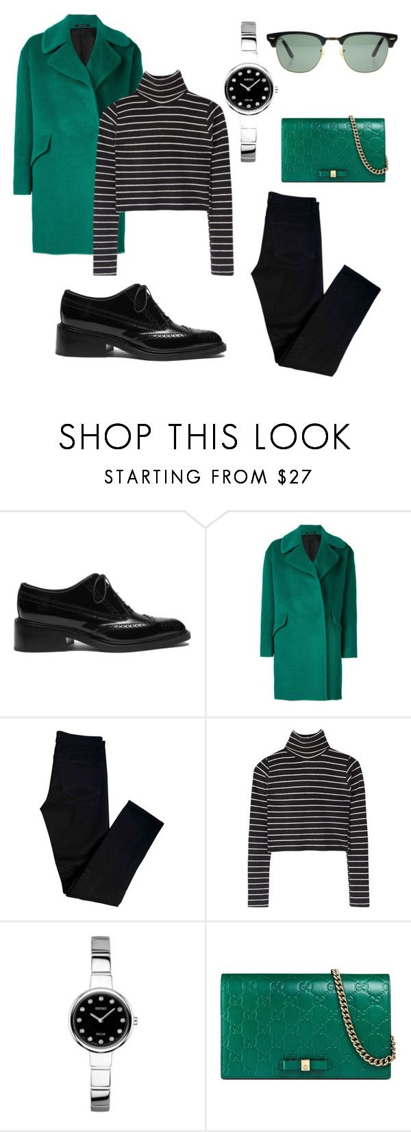 """Beauty 💚🖤"" by polusladkoy ❤ liked on Polyvore featuring beauty, Mulberry, Tagliatore, J Brand, Seiko, Gucci and Ray-Ban"