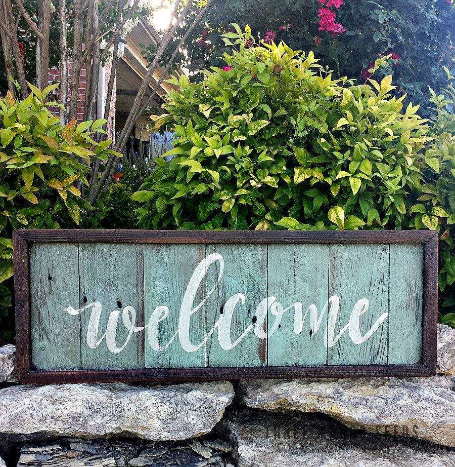 Cursive WELCOME Rustic Wood Sign 8 X 23 Hand Lettered Fixer Upper Style Wall Art Framed Reclaimed PORCH By Mangoseedmarketplace On