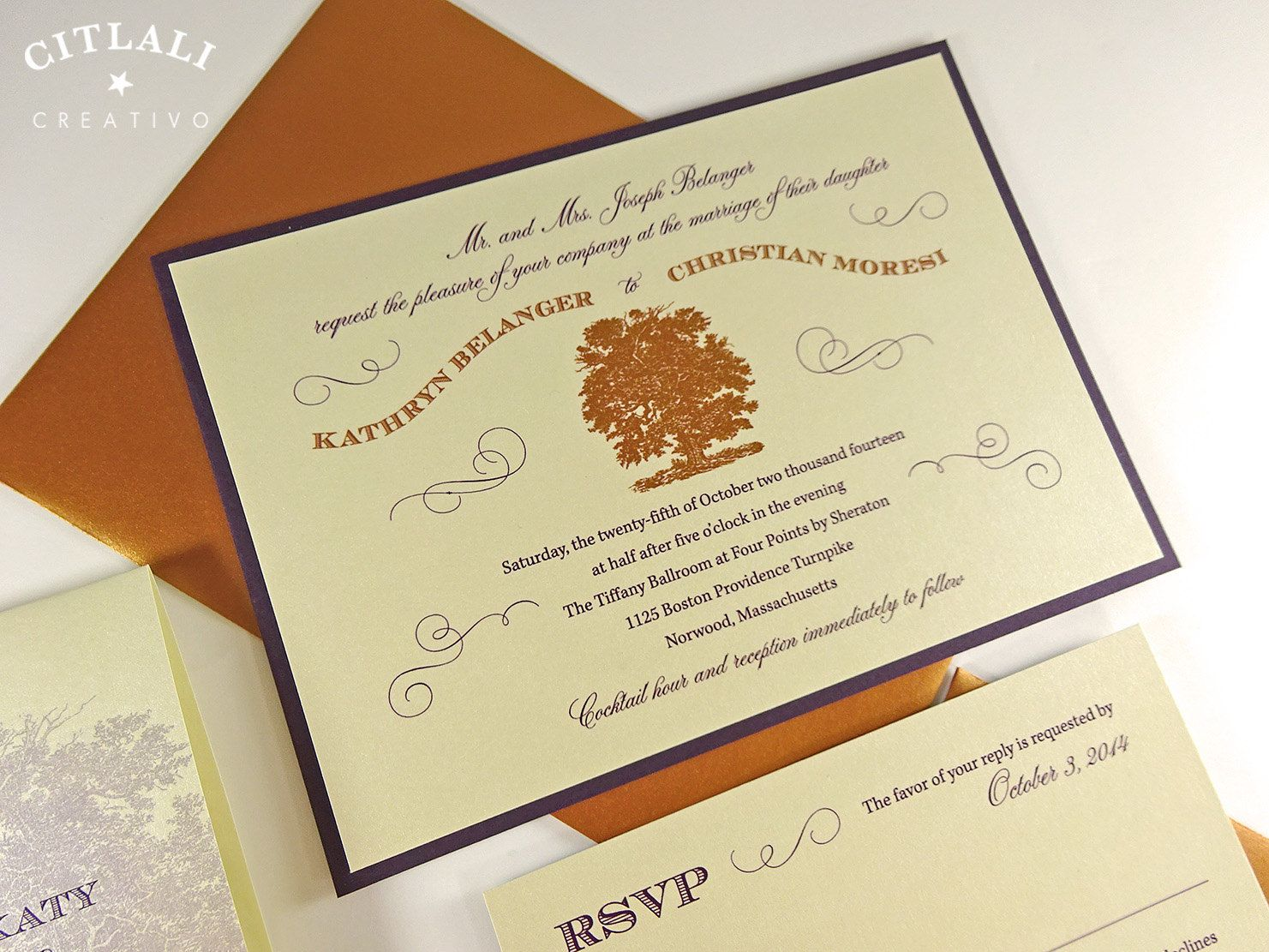 Elegant Oak Tree Wedding Invitations In Copper Eggplant Or Your Colors