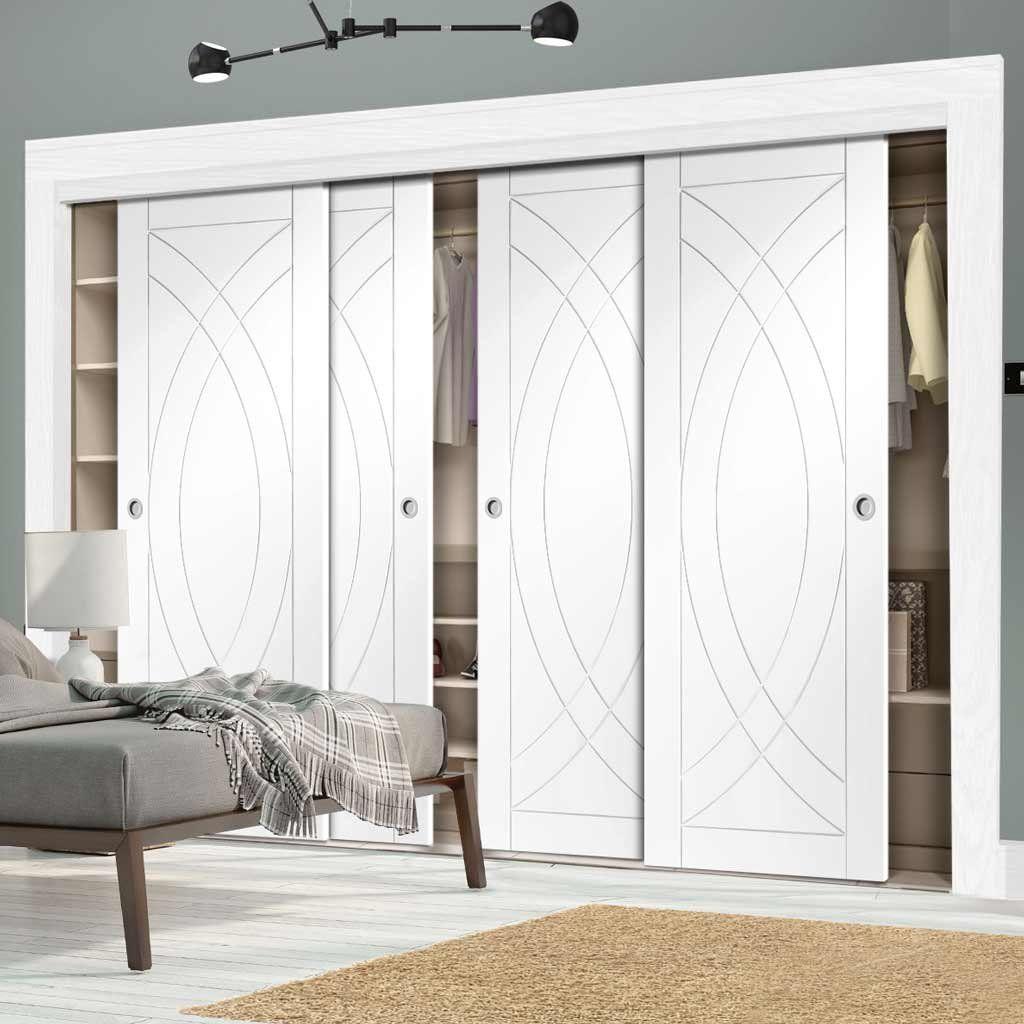 Hallway storage with sliding doors  Thruslide Treviso Flush  Door Wardrobe and Frame Kit  White Primed