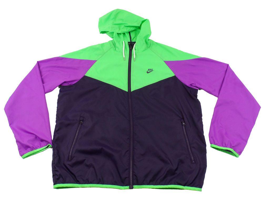 Nike Full Zip Running Hoodie Jacket Womens Large L Bright Purple Green Colors #Nike #Hoodie