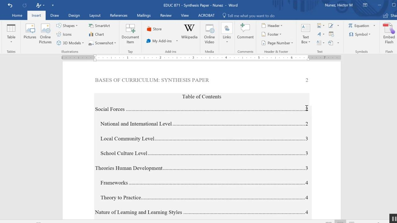 The Mesmerizing Inserting A Table Of Contents In An Apa Formatted Paper Regarding Microsoft Word Ta Table Of Contents Template Apa Template Apa Format Template