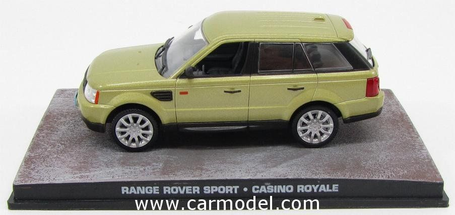 EDICOLA BONDCOL051 1/43 ROVER RANGE ROVER SPORT 2006 - 007 JAMES BOND - CASINO ROYALE Skala:: 1/43Zustand: MCode: BONDCOL051Farbe: GOLD METMaterial: Die-Cast  Anmerkung: JAMES BOND 007 DIORAMA COLLECTION - TV SERIES
