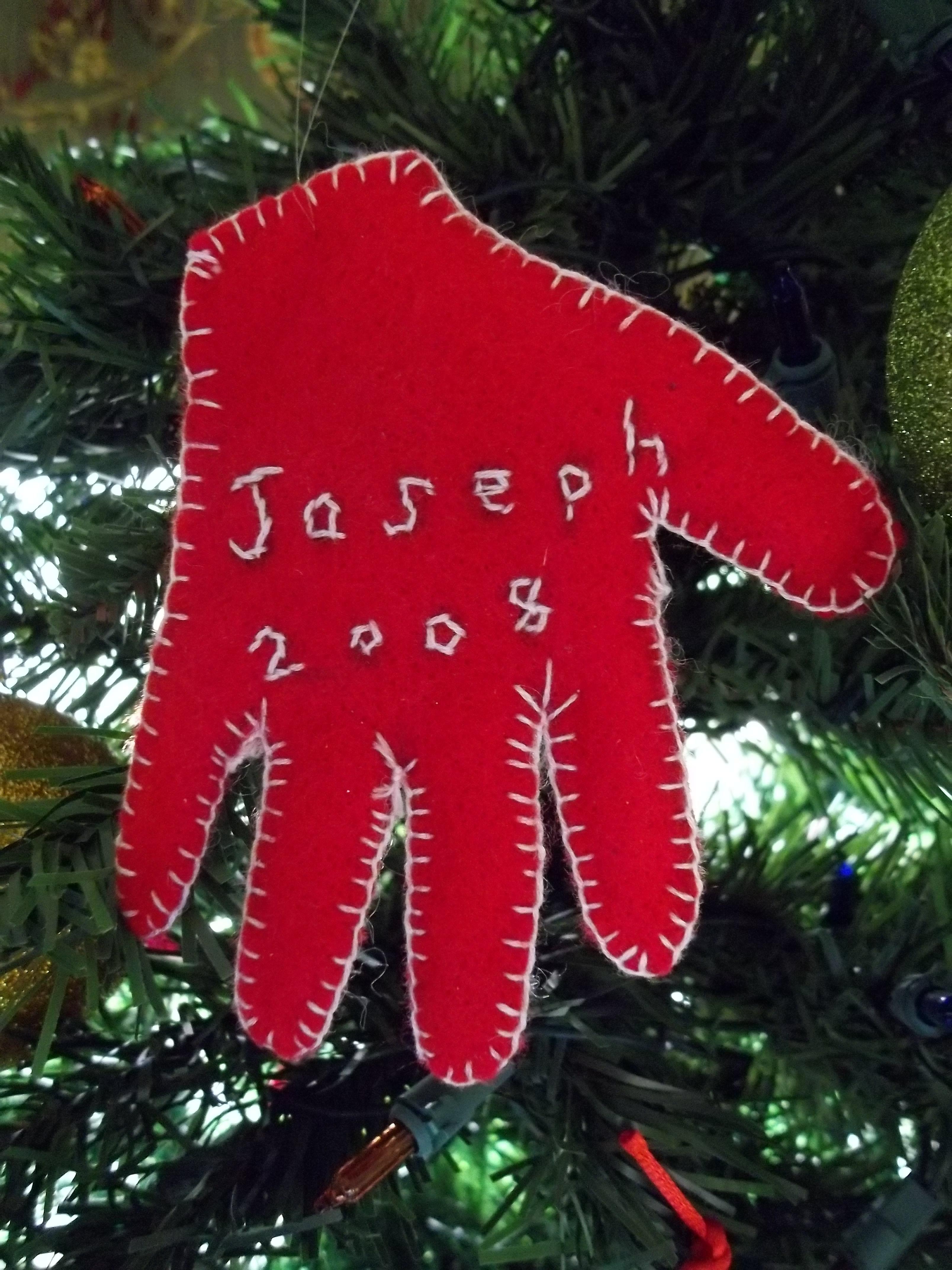 Felt handprint ornament I like this I love his hands  Christmas