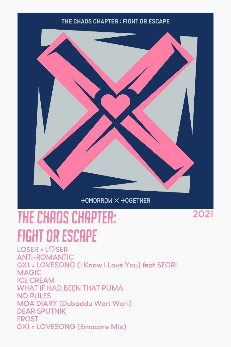 (pink text) txt together the chaos chapter fight or escape album aesthetic minimalist poster #tomorrowxtogether #txt #bighit #albumposter #kpop #aesthetic