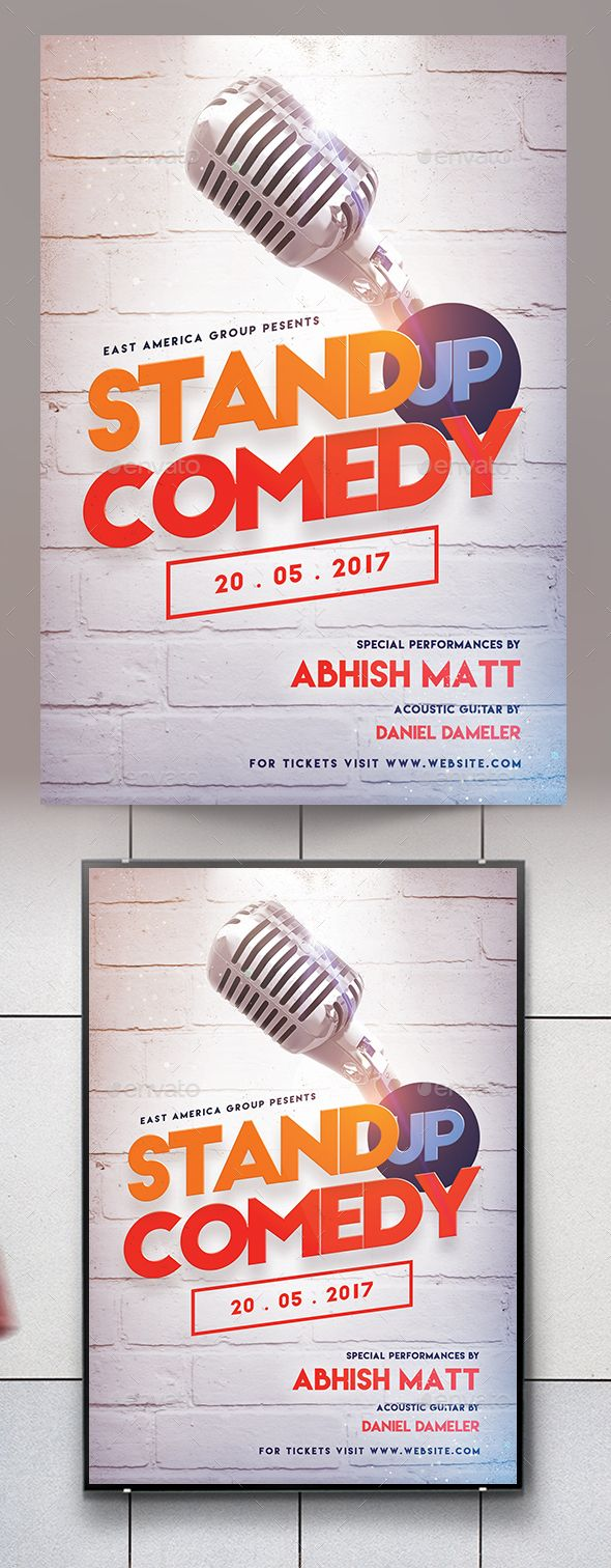 Stand Up Comedy Flyer Template Psd Posters Pinterest Flyer