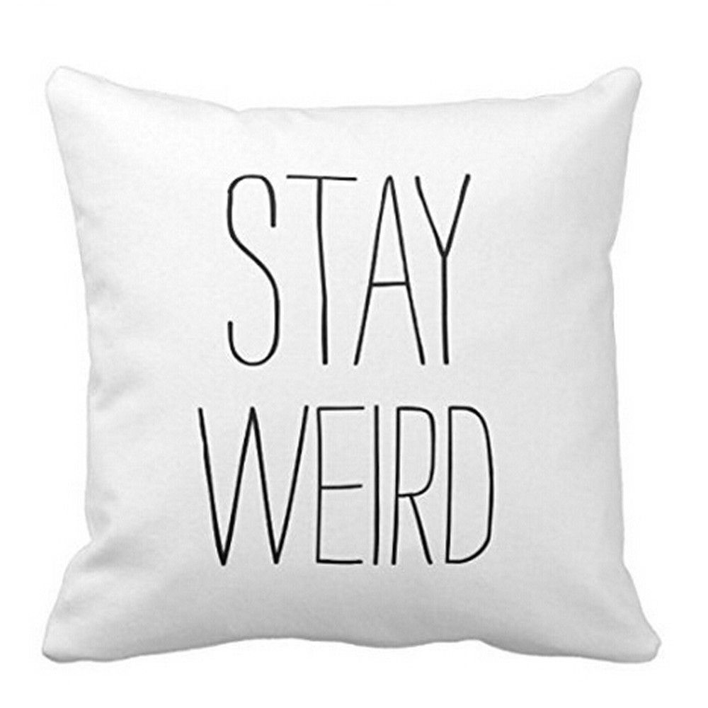 Stay weird x pillow cover graphic prints plush and throw