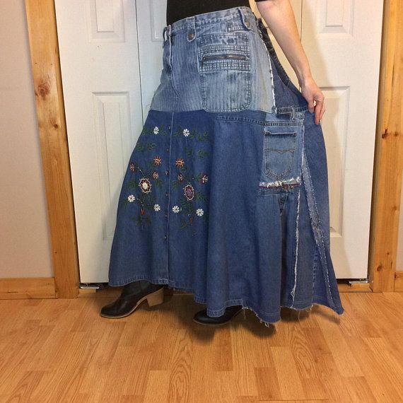 e0872216e Maxi Denim Skirt/Modest Jean Skirt/Long Denim Skirt/Upcycled Recycled  Repurposed Blue Jeans/Pockets/Embroidered/Split/Womans Plus Size 1X