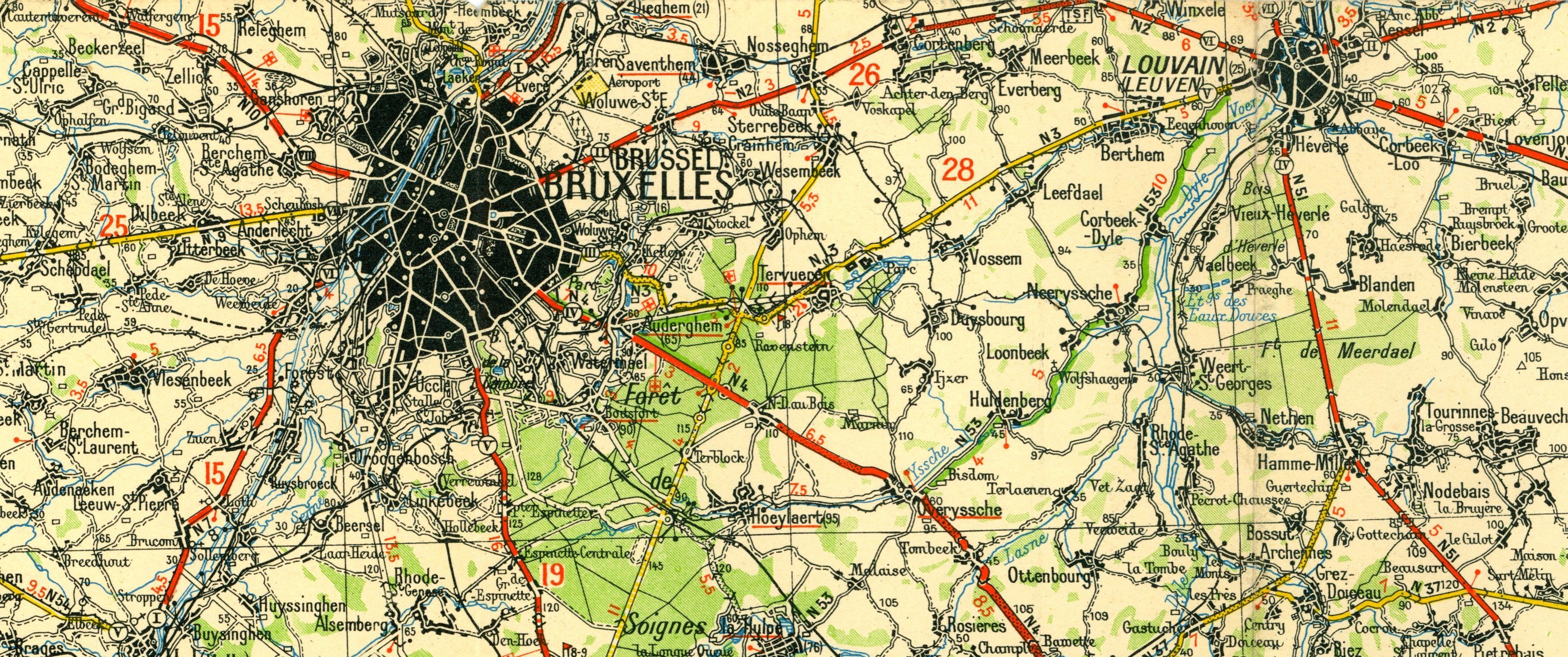 Brussel kaart Michelin 1200000 BruxellesLige 1930 Brussels