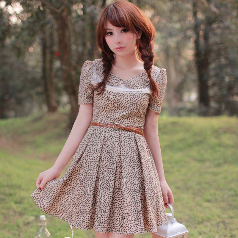 brown patterned dress