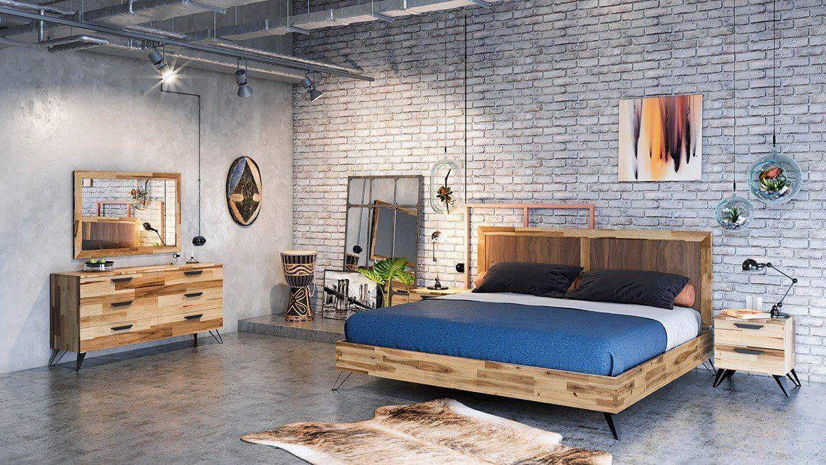 Modrest Sala King Modern Light Wood Bedroom
