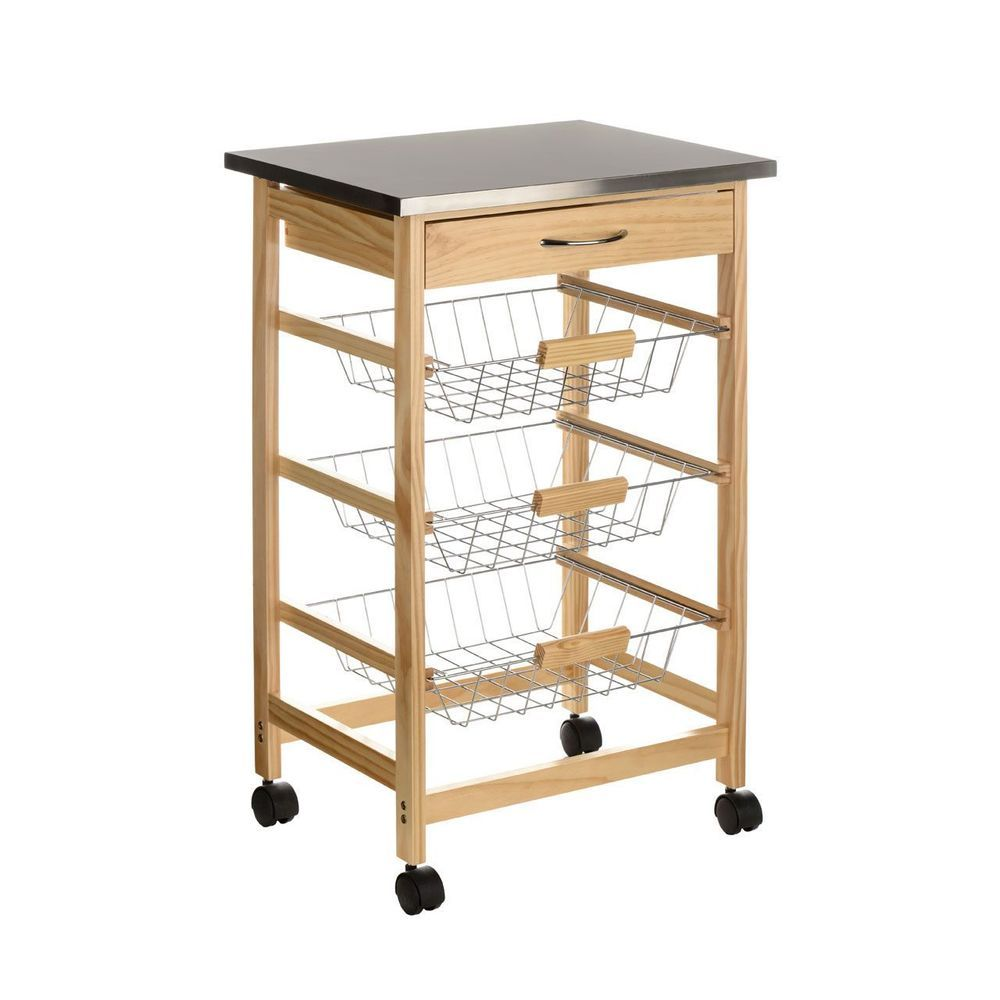 pinewood kitchen trolley s steel top with 1 drawer and 3 wire rh pinterest ca
